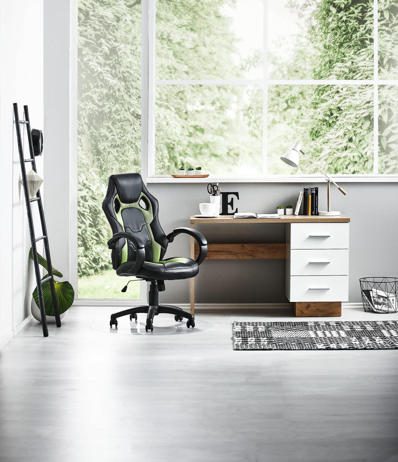 Schreibtisch In Weiss Und Eichefarben Produktivitat Ohne Grenzen Schreibtisch Haus Deko Tisch