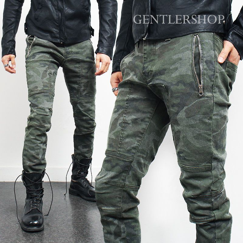 0c2a7ba01fc5 Mens Vintage Faded Camouflage Zipper Pocket Slim Biker Jeans P010 ...