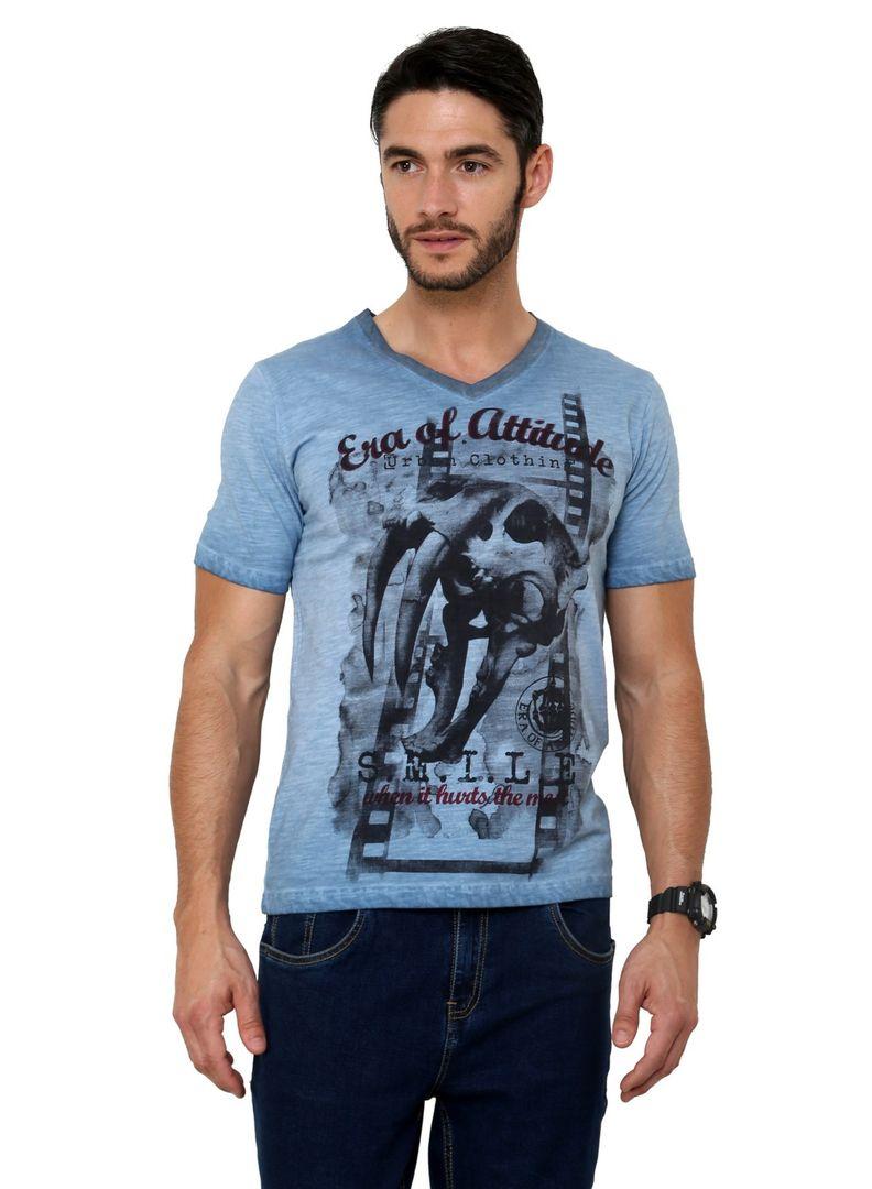 Black t shirt jabong - Pigment Washed Skull Print Sabertooth Tiger Faded Half Sleeve Single Jersey Cotton Blue T Shirt