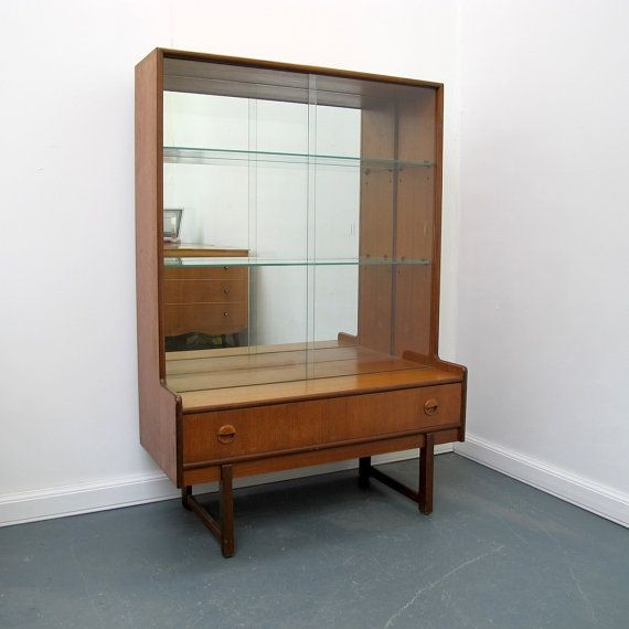Vintage Teak And Gl Mirrored Cabinet By Turnidge Of London
