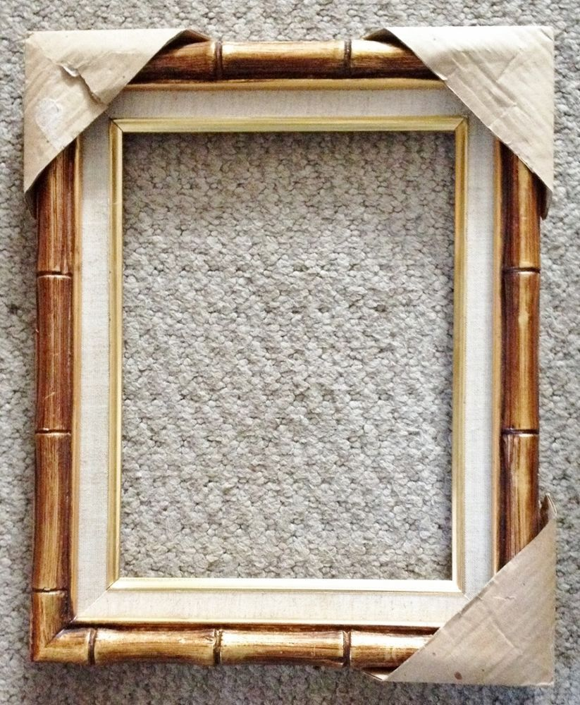 Vintage Gilt Gold Wood Faux Bamboo Picture Frame Holds 12 X 9 Bamboo Picture Frames Gold Wood Picture Frames