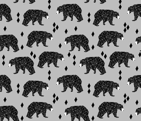 Origami Bear - Slate By Andrea Lauren fabric by andrea_lauren on Spoonflower - custom fabric