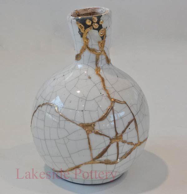 Raku Vase With Kintsugi Repair For Sale Wabi Kintsugi
