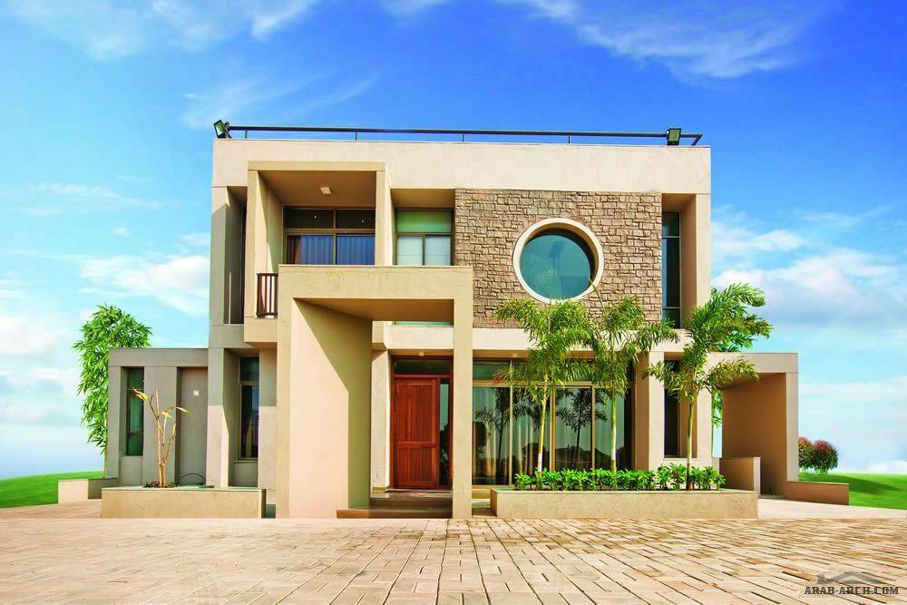 خرائط وتصميم فيلا مودرن صغيرة المساحه بدروم و ارضى و اول House Styles House Elevation Design