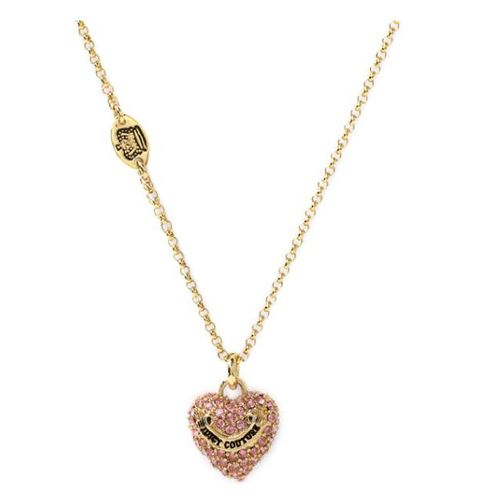 Juicy Couture Jewelry Puff Pave Heart Wish Necklace Pink Juicy Couture Necklace Pave Heart Necklace Necklace