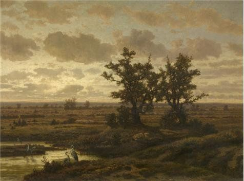 Jean Pierre Francois Lamoriniere  Marsh Near Putte 19th Century Oil Painting 24x32 Inch  61x82 Cm printed On High Quality Polyster Canvas this Amazing Art Decorative Canvas Prints Is Perfectly Suitalbe For Living Room Decoration And Home Decor And Gifts