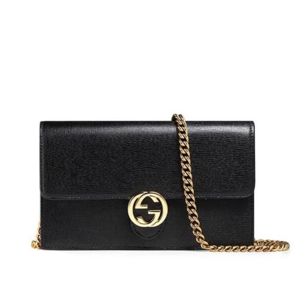 b59e3629801 GUCCI black ICON Leather INTERLOCKING G Mini CHAIN bag wallet NWT Auth –  MyDesignerly