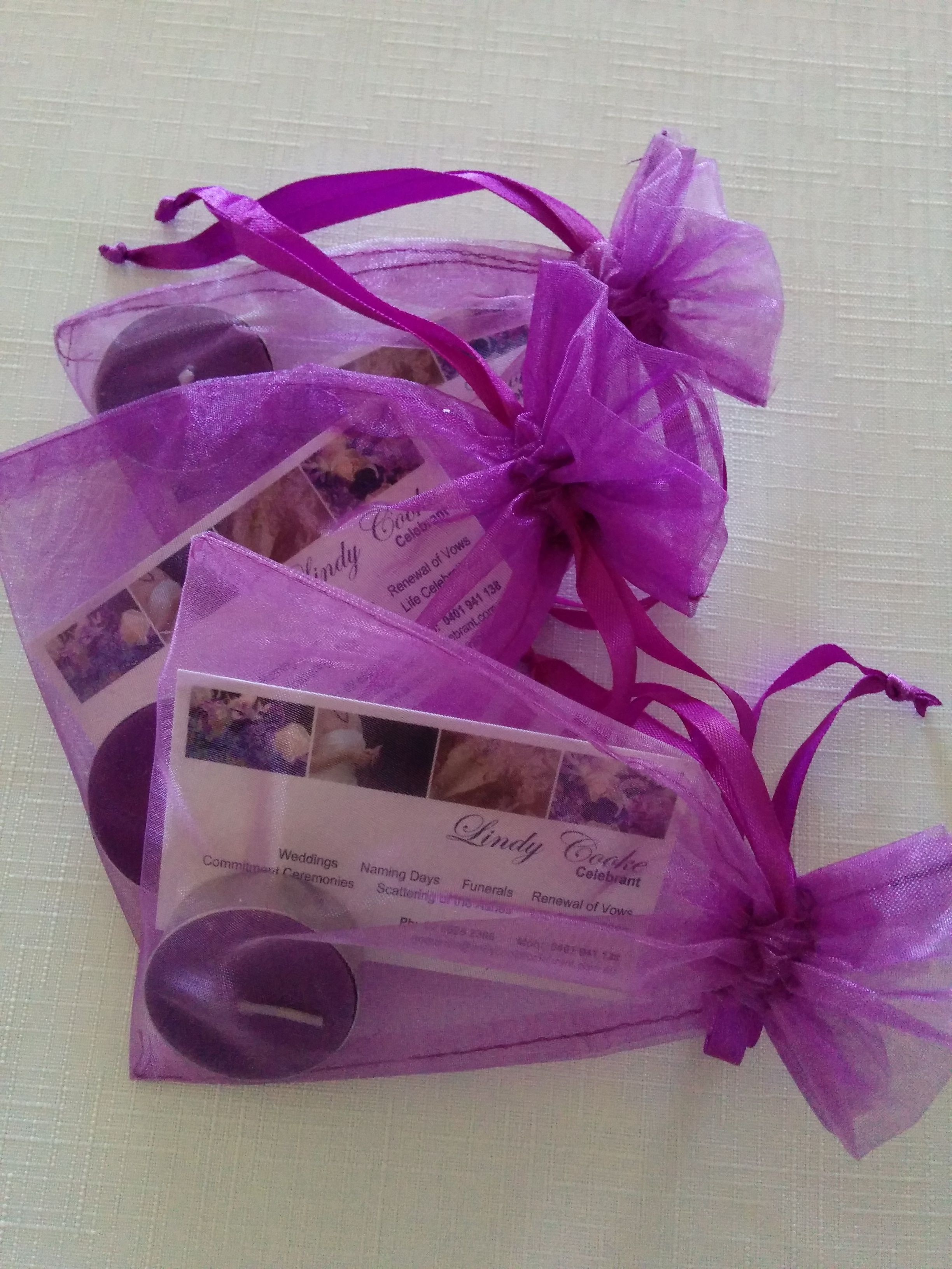 Bridal expo giveaways tea light candles and business cards in bridal expo giveaways tea light candles and business cards in chiffon bags magicingreecefo Images