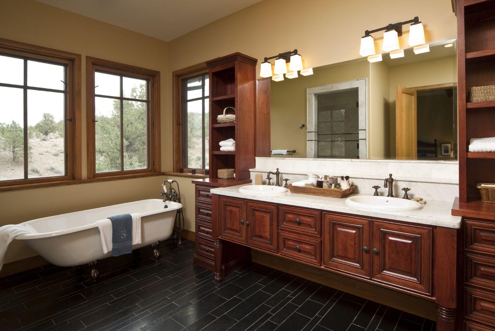 Bathroom Exclusive Teak Wood Double Vanity Bathroom With White Pleasing Bathroom Vanities Luxury Design Ideas