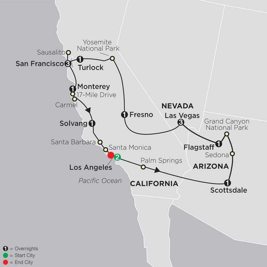 Western United States Los Angeles Guided Tour Cosmos At Map Las Vegas To San Francisco Las Vegas Map Tour Guide Las Vegas