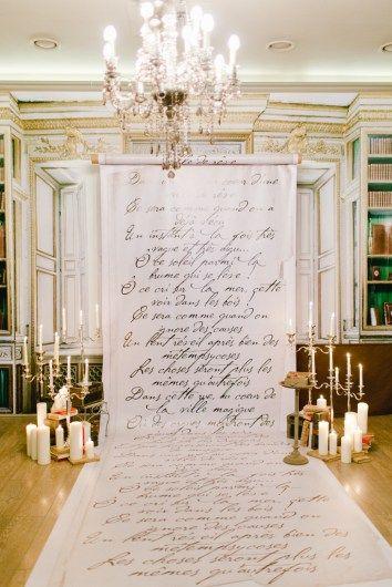 Calligraphy wedding backdrop ceremony