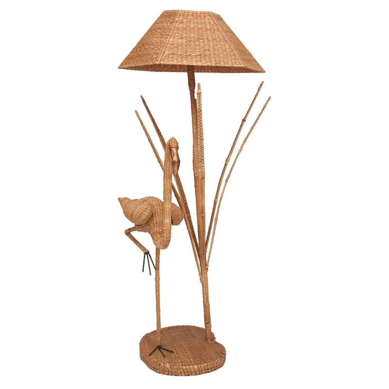 5242c0c1058dd Mario Lopez Torres Flamingo Wicker Floor Lamp with Bronze Accent ...