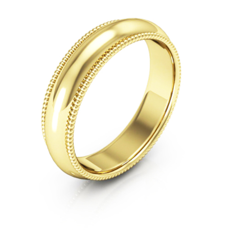 14K Yellow gold 5mm milgrain comfort fit men's & women's