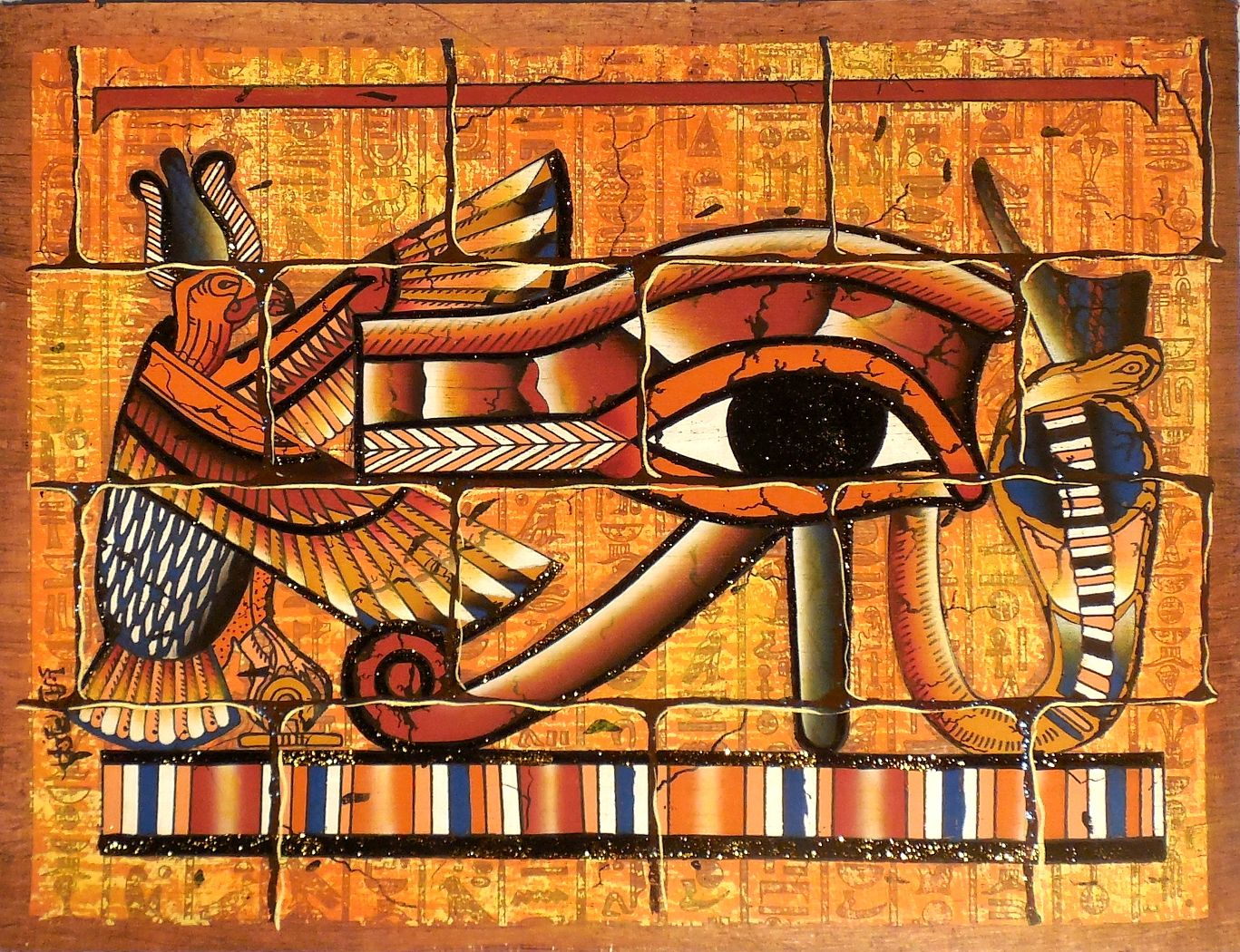 Eye of ra mural ancient egyptian papyrus painting for Egyptian mural art