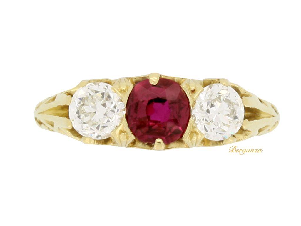 d477968d64733 Antique Tiffany & Co. ruby and diamond three stone ring, circa 1900 ...