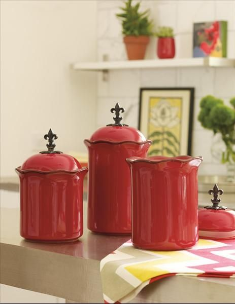 Red Accent Pieces | Cinnabar Red Canisters: Set of 3 by Willow House. Great accent pieces ...