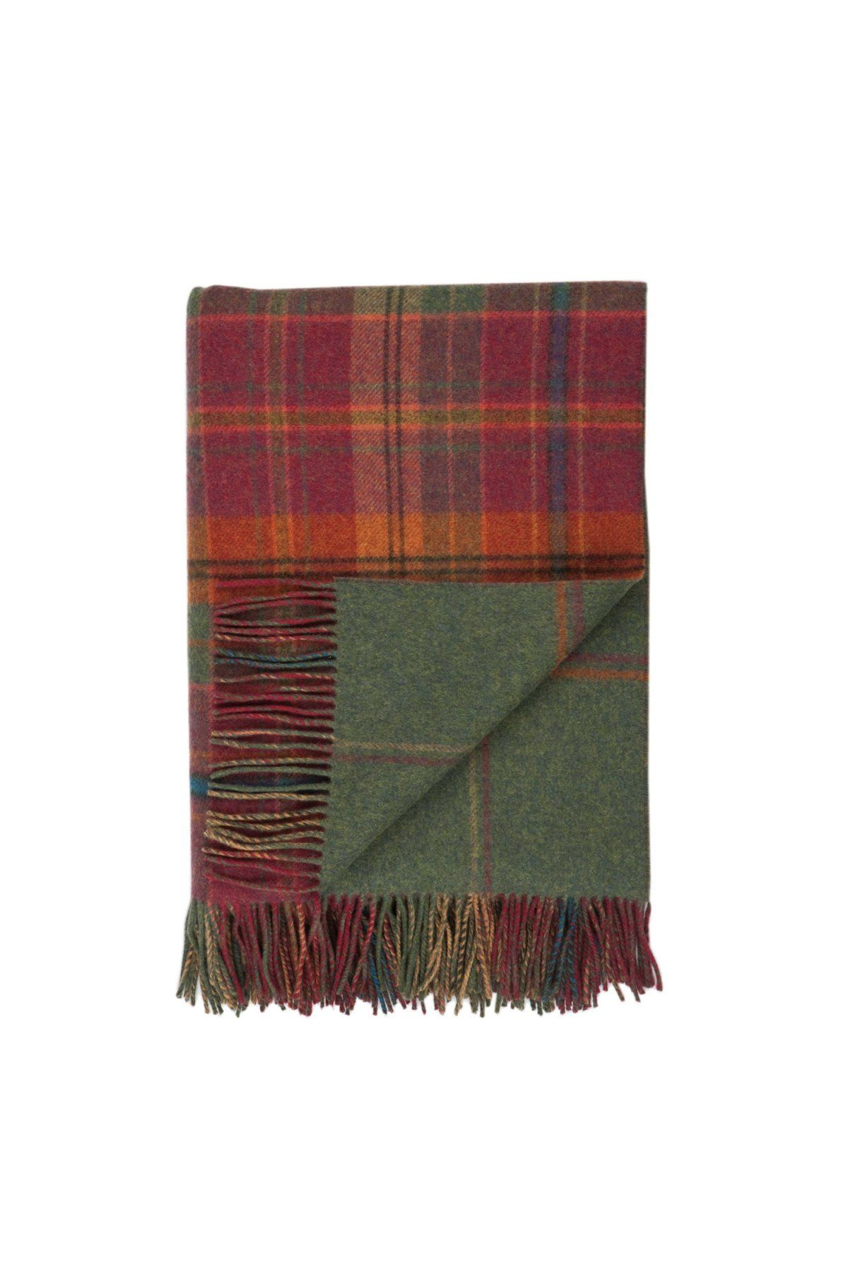 Dunoon Double Face Check Lambswool Throw In Red Lambswool Throw Plaid Throw Plaid Throw Blanket
