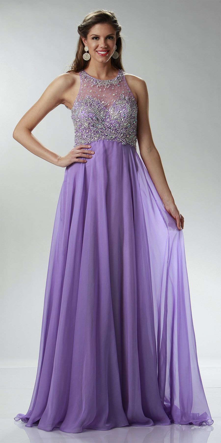 On special limited stock sheer halter neckline long a line lilac