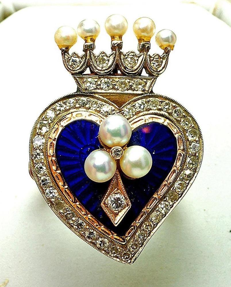 Antique 14k yellow Gold Diamond Pearl Enamel Heart & Crown