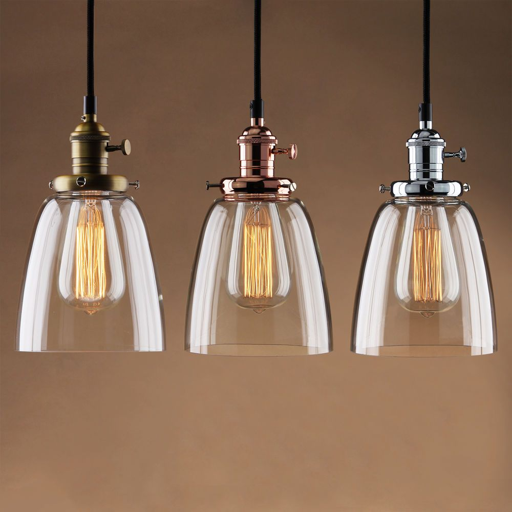 Vintage Industrial Cafe Glass Brass Chrome Pendant Lamp Shade
