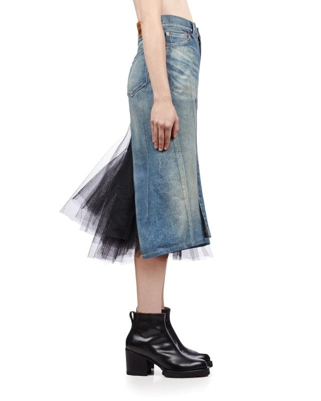 723abe60e0 Junya Watanabe Denim Skirt with Tulle