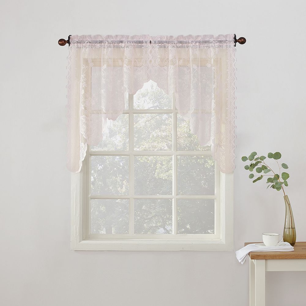 No alison floral lace sheer kitchen curtain swag valance pair