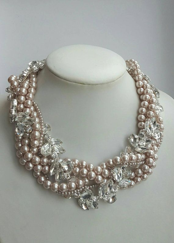 2404783d4ea Multistrand pearl and rhinestone necklacewedding by FashionLILLA ...