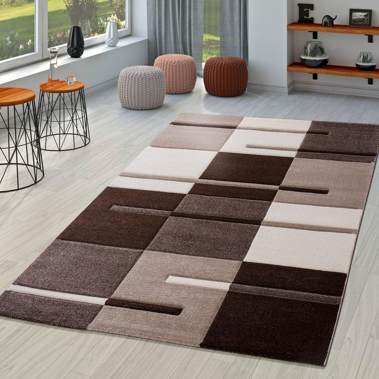 Moderner Wohnzimmer Teppich Braun Beige Creme Karo Muster Mit Konturenschnitt Wohnraum Teppiche Beig Teppich Braun Wohnzimmer Teppich Teppich Braun Beige