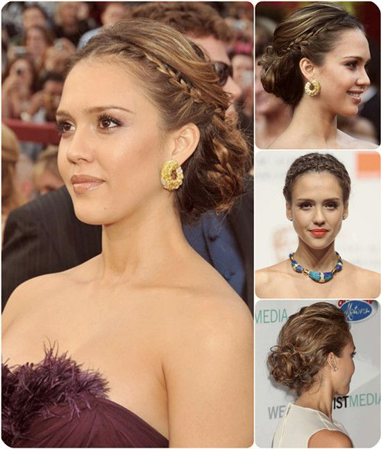 Jessica Alba Braided Up Do Hair With Dark Clip In Extension For Back To School
