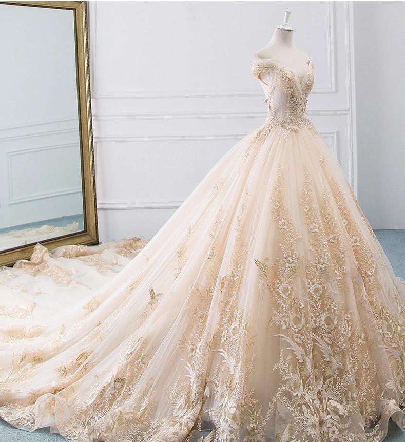 DM #w009 Flower Ball Gown Wedding Dress