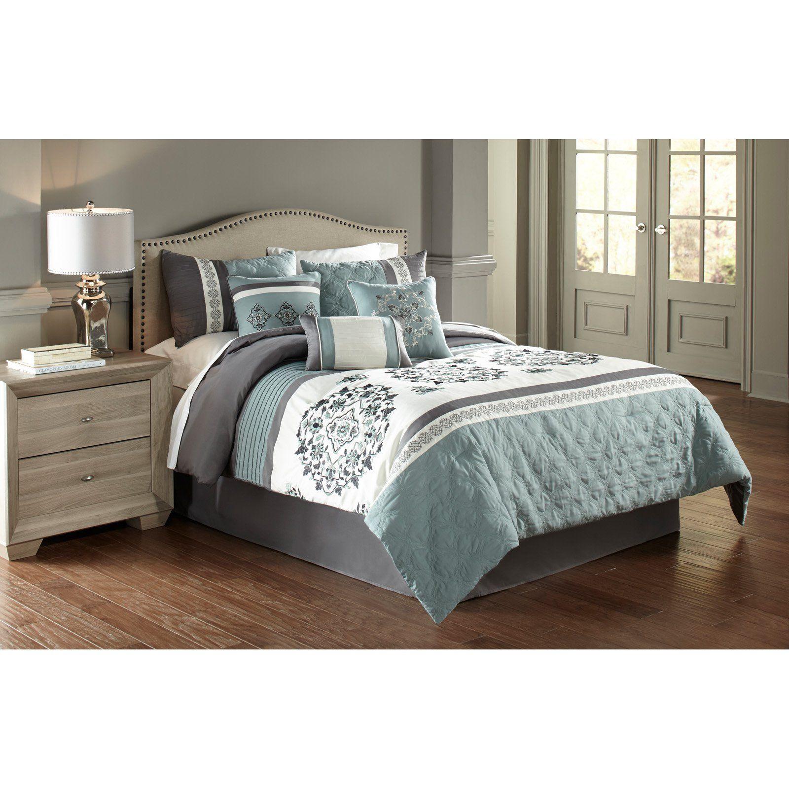 Aria 7 Piece Comforter Set By Hallmart Blue Comforter Sets Grey