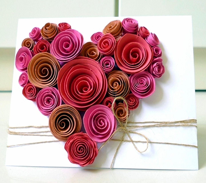 Paper Flower On Canvas Beautifullllll Craft Pinterest Diy