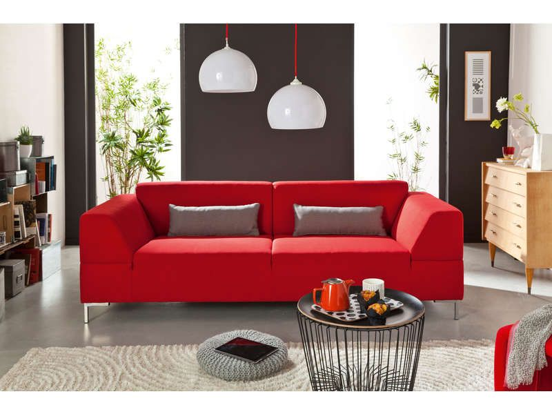 canap fixe 3 places joshua coloris rouge prix promo. Black Bedroom Furniture Sets. Home Design Ideas