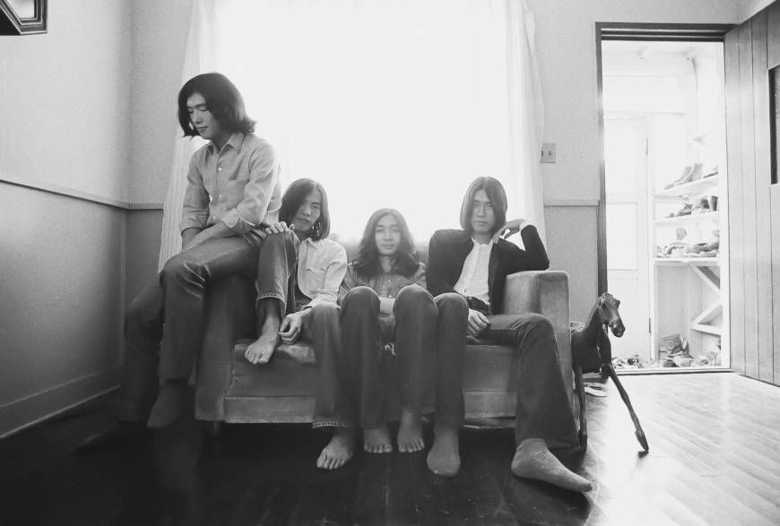 Early days: Japanese rock group Happy End takes a break during an album photo shoot in 1971.