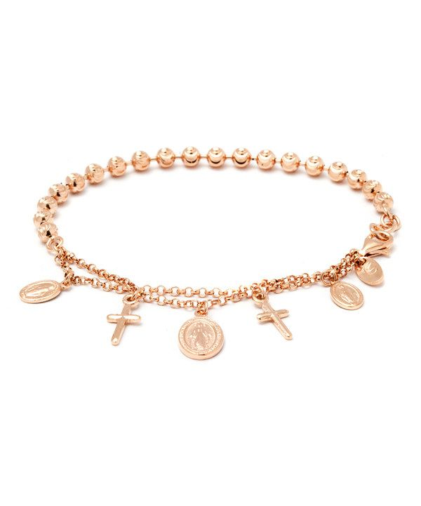 Look at this Rose Gold Cross & Medallion Charm Bracelet on #zulily today!