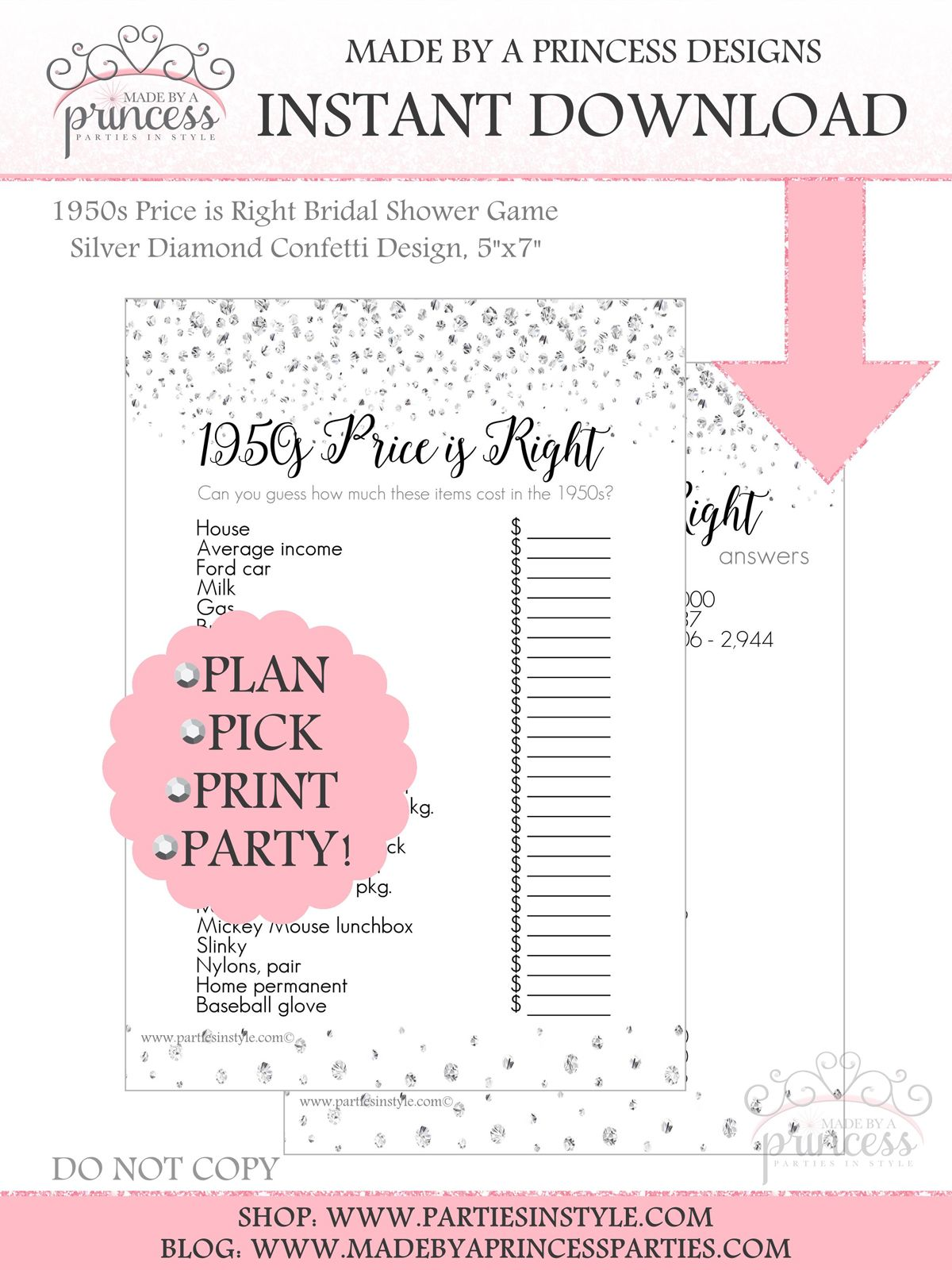 0211d4c531f 1950s Price is Right Bridal Shower Game INSTANT DOWNLOAD Silver ...