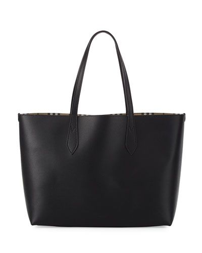 e7280f88e8 BURBERRY Lavenby Medium Reversible Check   Leather Tote Bag