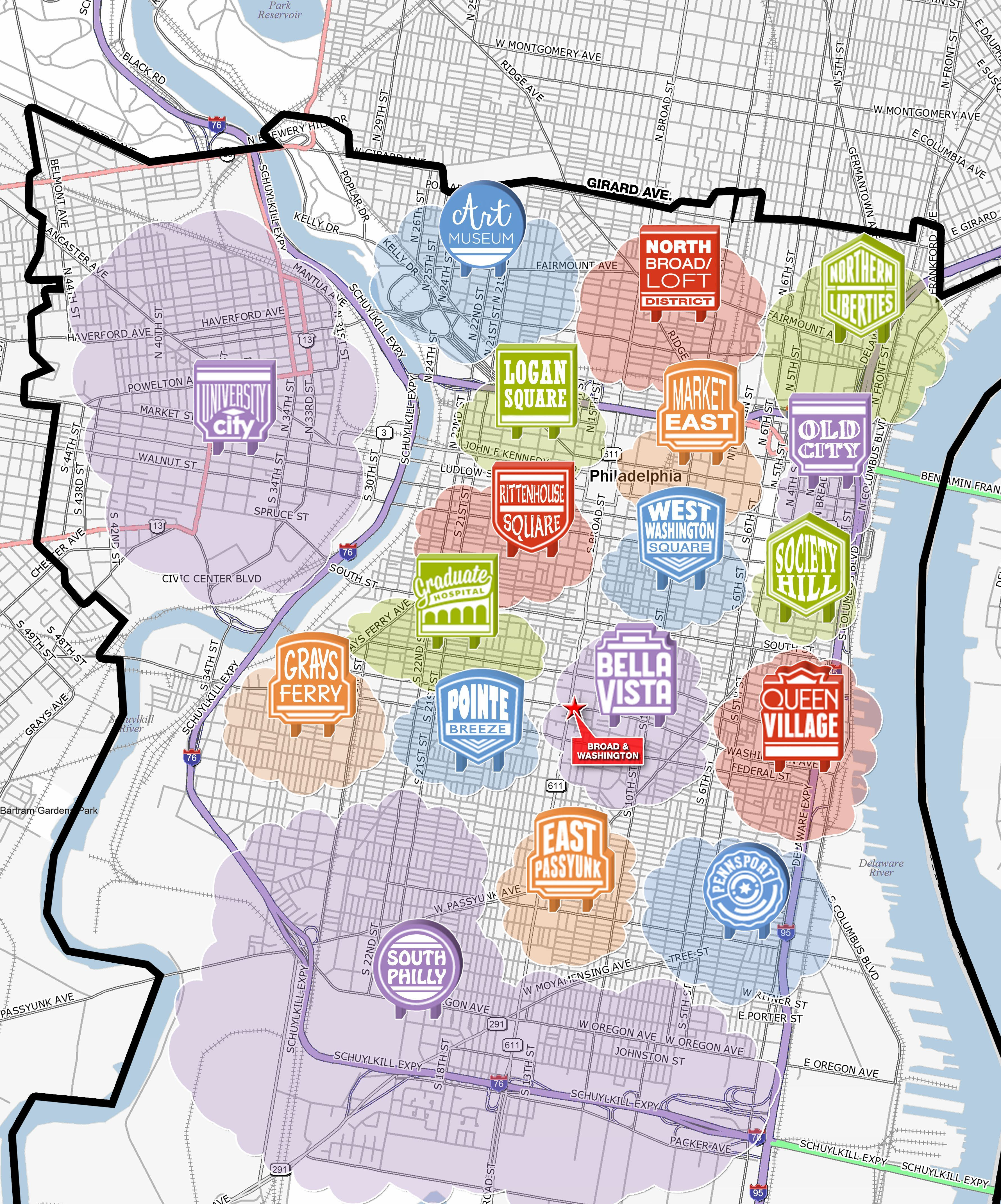 Philadelphia On Map Of Us.A Map Highlighting The Diverse And Distinct Neighborhoods Of Center