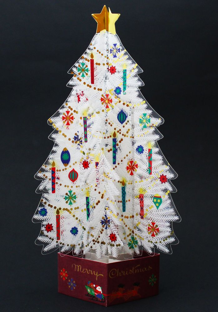 White Crystal 3D Christmas Tree Pop Up Greeting Card #NihonHallmarkKK #ChristmasTree #Christmas