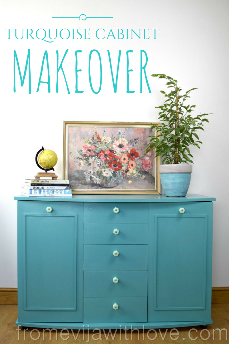 Hi everyone.. I finally I have a furniture makeover I can share with you. I turned this old cabinet into a turquoise beauty