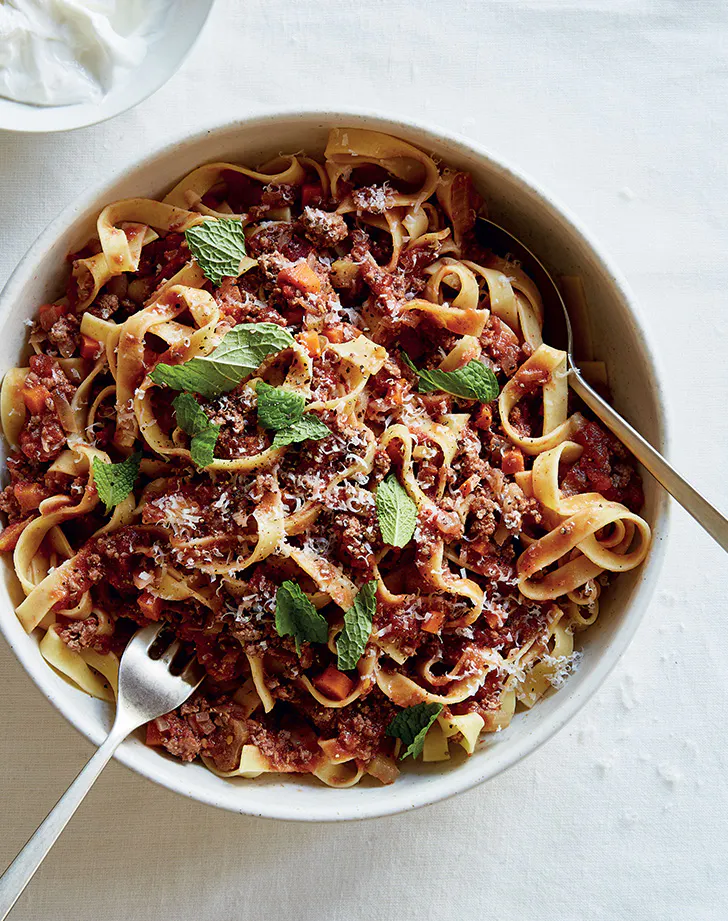 Antoni Porowski S Moroccan Style Pasta Bolognese Recipe With Images Meal Train Recipes Pasta Bolognese Bolognese Recipe