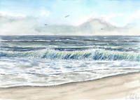 Meer Sand Strand Seemotiv Ca 17 X 24 Cm Original Aquarell