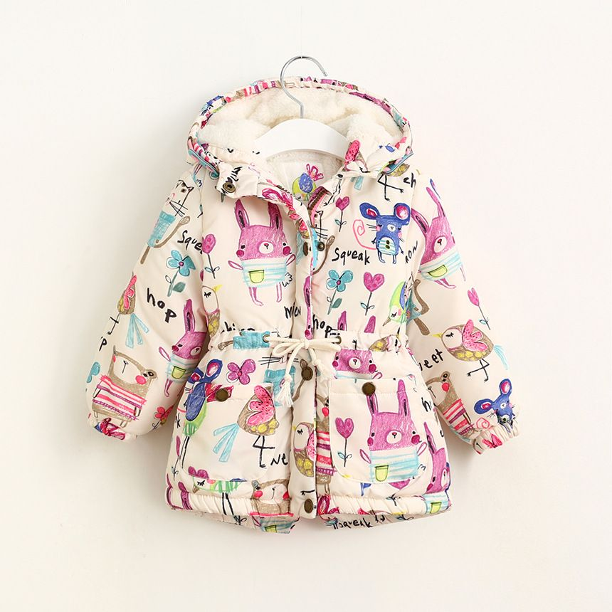 47ef0df4255f 2017 Girls Winter Coats Graffiti Girls Parkas Hooded Baby Girl Outerwear  Cute Lovely Cartoon Printed Girls Winter Jackets 2-8Y