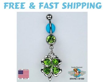 Clover Dangle Belly Ring Bar Green CZ Shamrock Navel Ring St. Patricks Day Belly RIng 14G (C28) Free Shipping