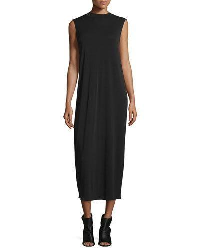 Funnel-Neck Sleeveless Silk Dress, Black