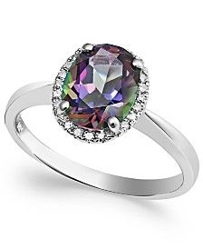 14k White Gold Mystic Topaz (2 ct. t.w.) and Diamond Accent Ring