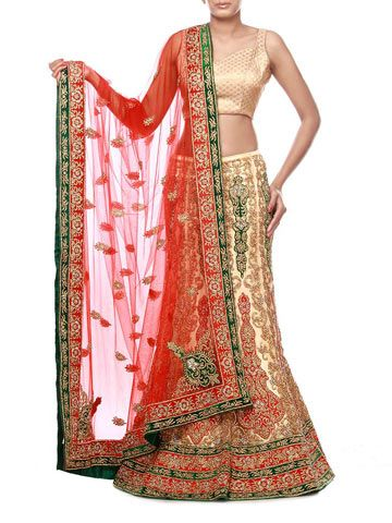 02ec1c99ec8 Light gold net lehenga embellished with gold and silver crystals all over  also enhanced with work