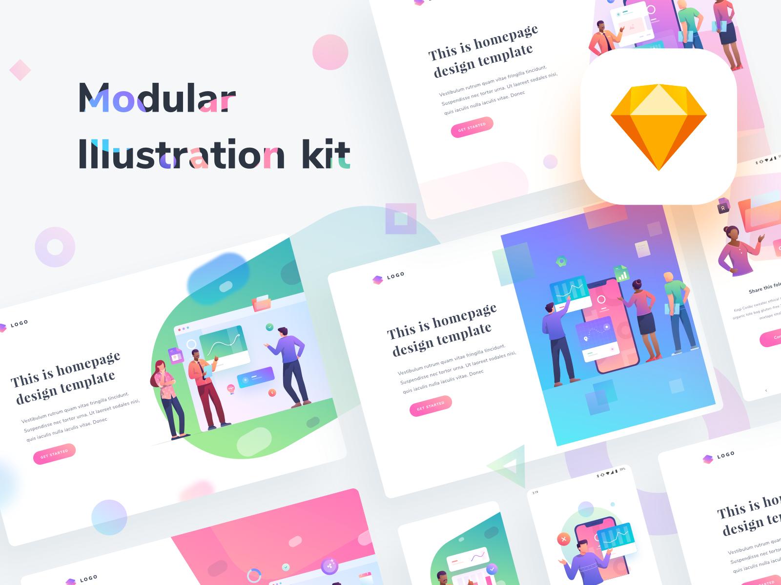 Modular Illustration Kit Illustration Graphic Design Resources Graphic Illustration