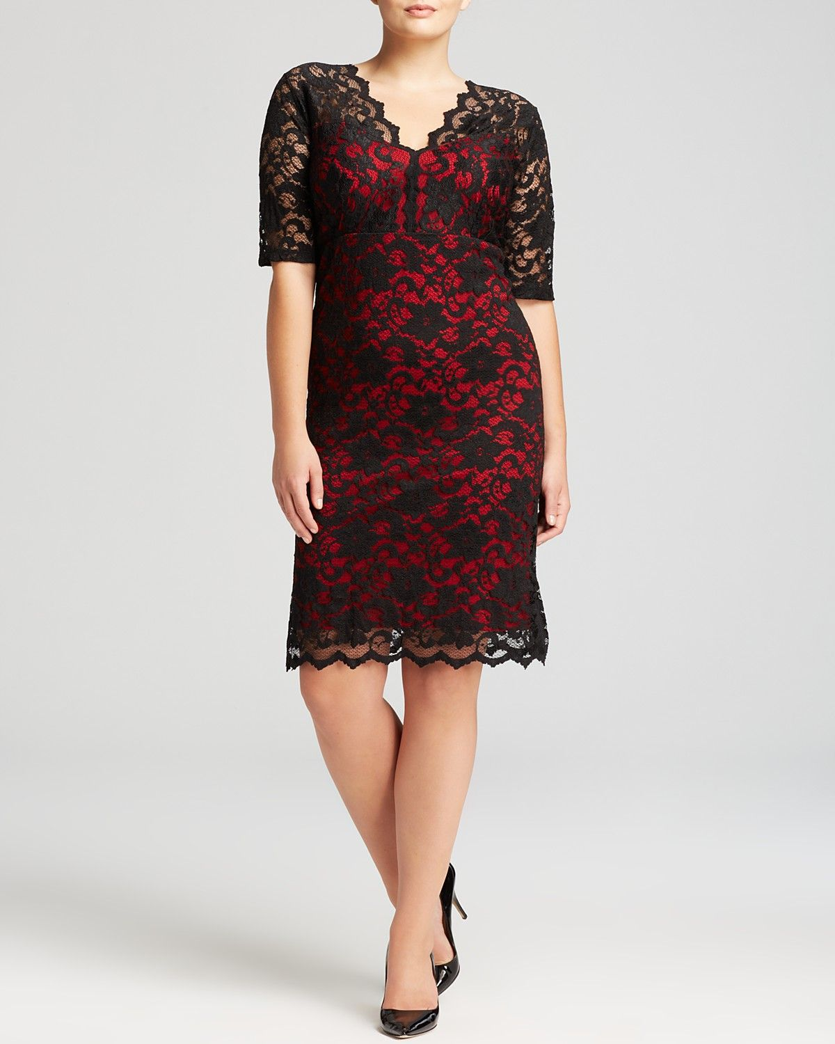 Curvy red and black scalloped black lace party dress