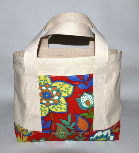 Canvas Tote Bag, Small, Natural Canvas, Flowers, Red, Blue, Green, Short Handles